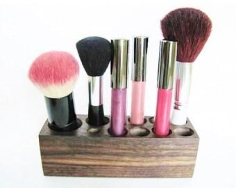Walnut Vanity Make up Organizer Display Bathroom Decor