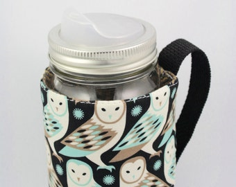 Mason jar sleeve, mason jar cozy, mason jar, hand made, eco friendly, coffee, tea, smoothies, owl, cottage, camping, travel mug, eco gift