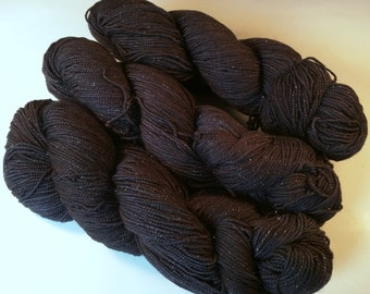 Charcoal on Silver Sparkle SW Merino Nylon Stellina Hand dyed fingering weight sock yarn