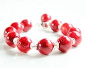 Red Bamboo Coral bracelet, Sterling Silver bracelet, fine statement bracelet with red coral, chunky, bold,cluster charm,gift for her, BR3047