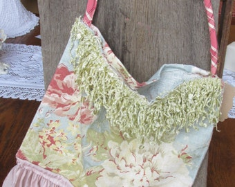 Shabby handmade bag, Pink Blue Floral chintz upcycled vintage bag, handmade tote purse