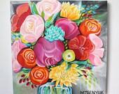 """20"""" x 20"""" Acrylic Canvas Painting: Arrangement no.5"""
