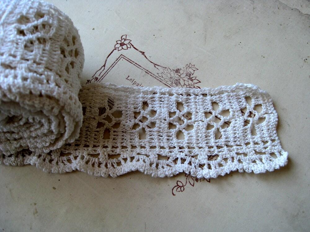 vintage crochet lace trim 3 yards white handmade cotton ribbon border home decor decoration. Black Bedroom Furniture Sets. Home Design Ideas