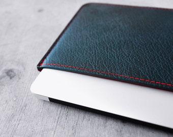"Custom made. MONOGRAM. Full leather case BLACK-n-RED for Macbook Air 11"""