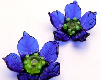Lampwork Glass Flower Beads for Jewelry Making, 2 Cobalt Blue flowers, Made to Order