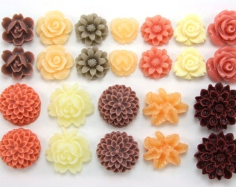 24 pcs Resin Flower Cabochons Assorted Sizes Sampler Pack - October Orchard