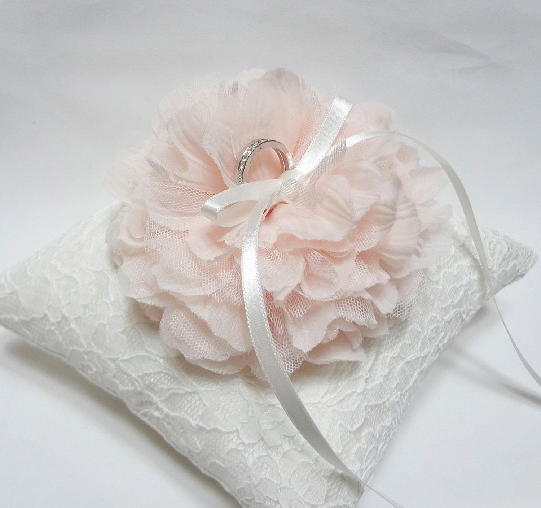 blush ring pillow ring bearer pillow wedding ring pillow white lace ring pillow - Wedding Ring Pillow