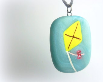 Kite Necklace, Handmade Polymer Clay Jewelry, Pendant