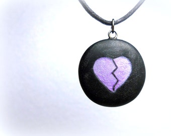 Broken Heart, Anti Valentine Purple and Black Necklace, Handmade Polymer Clay Jewelry, Goth, Pendant