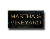 Martha's Vineyard Canvas Art, City Sign, Typography, Rustic New England Wall Art, Cottage, Farmhouse Decor, Black, Brown & Copper, 10x20""