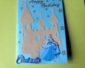Disney Cinderella Happy Birthday castle glittery blue gold stars card