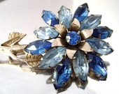 "Vintage Blue Rhinestone Flower Brooch Montana and Light Blue Navette Rhinestone Big 4"" Dimensional Juliana Brooch 1940-50's"