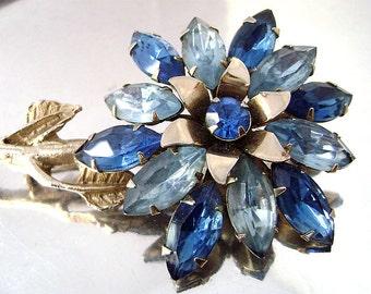 "Vintage Blue Rhinestone Flower Brooch Montana and Light Blue Navette Rhinestone Big 4"" Dimensional Juliana Brooch 1940-50's"