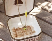 Necklace HOPE • brass & green and yellow glass beads