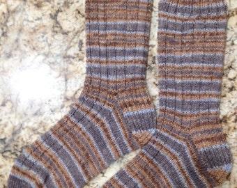 Hand Knit Mens or Womens Wool Socks - Opal Sock Yarn (S-164)