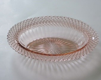 Miss America Pink Oval Vegetable Serving Bowl by Hocking Glass Co.