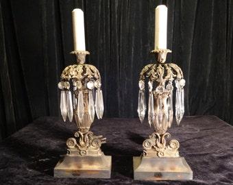 Antique Pair of Mantle Lamps