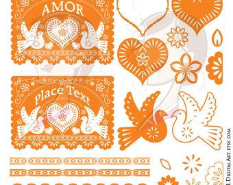 Cinco de Mayo Party Banner Orange Flower Bird Digital Clipart Papel Picado Bright Color DIY Wedding Mexican Clip Art Instant Download 10573