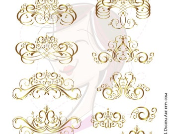 Gold Flourish Clipart Swirl DIY Business Logo Design Wedding Scrapbook COMMERCIAL USE Vector Images Png Vintage Heritage 10636