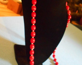 Red With White Strip Beaded Necklace