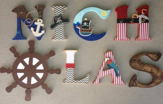 Pirate Wooden Letters Pirate Letters Custom Letters Pirate