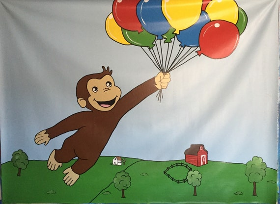 Curious george party table backdrop curious by for Curious george mural