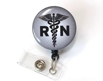 Mens Name Badge Clips - Male Nurse ID Holder - Medical Badge Clips - Hospital RN Badge Pull - Nurse Gift - Button Badge Reel - BadgeBlooms