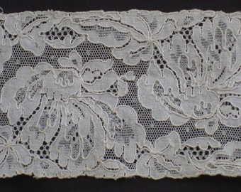 1 Yard Wide Antique French Chantilly Lace Trim - Exquisite; Ivory Silk - From The Doris Duke Estate, NJ - Reclaimed - Vintage Supplies