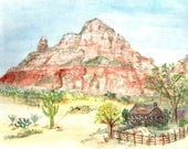 Arizona Desert Watercolor Print, Sedona Home Decor Wall Art, Painting of Cabin and Red Rock Mountains, Southwest United States Picture