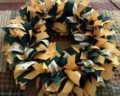 "GREEN BAY PACKER 16"" Ribbon Wreath Custom Made For Each Green Bay Packer Fan-Room, Door, Office, Wall, Decoration, Centerpiece Packer Party"
