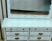 White Vintage Dollhouse Dresser with Mirror 1:1