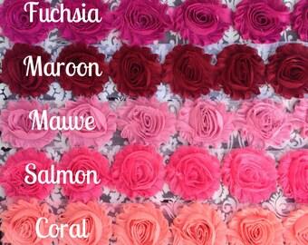 "Shabby Chiffon Flowers, 2.5"" Rose Trim, 1 yard, PICK 2 colors in 1/2 yard cuts beautiful rosettes DIY baby headband supply yellow green blue"
