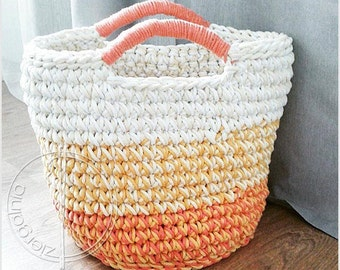 Ready to ship /XXL  Large handmade chunky crochet basket, cotton cord, yellow,