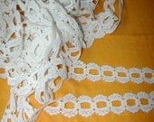 No. 100 Vintage White Cotton Ribbon Guipure (Eyelet) Lace (2 Piece)  Washed