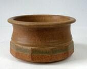 RESERVED4LORIANN Fred HAMANN Pottery BOWL 1980 Stoneware Faceted Pot 6in Dia Matte Rust Green Glaze Oregon Studio Artist Handmade Ex