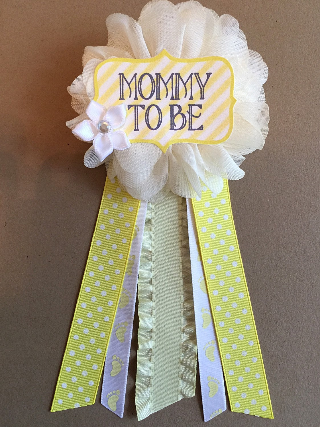 yellow footprints baby shower mommy to be flower ribbon pin