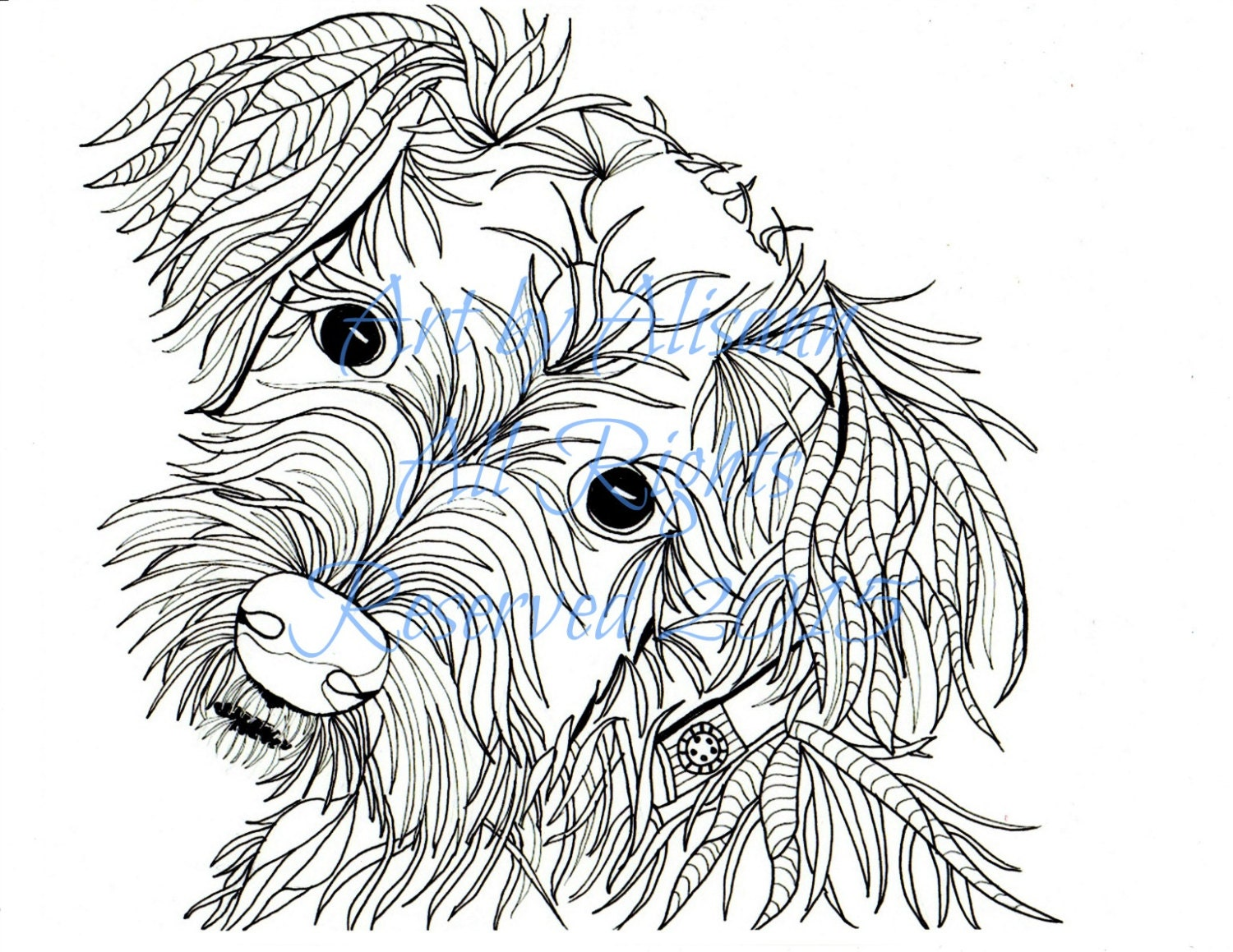schnauzer love dogs digital download coloring books for
