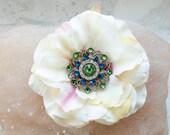 Hair flower pin, with Swarovski crystals.Tribal Fusion belly dance, ecru