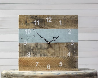 ORIGINAL Reclaimed Pallet Wood Wall Clock (Interesting Aqua)