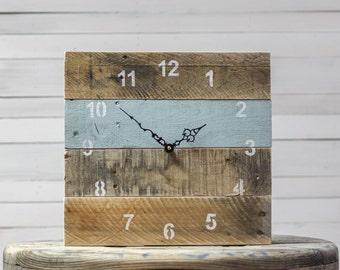 ORIGINAL Reclaimed Pallet Wood Wall Clock (Interesting Aqua)