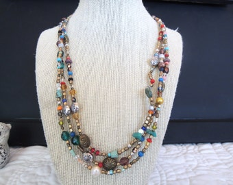 Mixed Beads BoHo Quirky Triple Strand Unique Gift Style Colorful