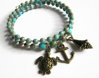 Anchor Charm Bracelet,  Beach Stacking Bracelet, Sea Sediment Jasper Boho Bracelet,  Blue Memory Bracelet, READY To SHIP