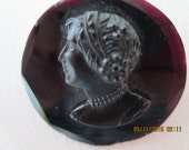 Mourning brooch jet glass cameo c1900