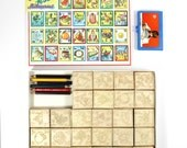 Illustrated ABC Rubber Stamp Set - Vintage Alphabet Rubber Stamps - Made in Italy - 1970's Lillian Vernon - Retro Art Stamps - Mint & Unused