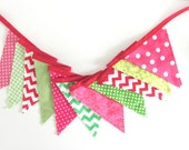 Bunting Banner Party Supplies, Girl's Nursery or Birthday Party Decoration Watermelon Green, Pink, Red Fabric Banner