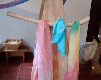 Wooden silk hanger / Waldorf playsilks storage / Wiwiurka