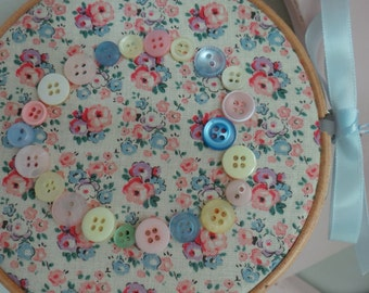 Button Heart Embroidery Hoop Decoration