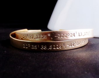 Gold Personalized Coordinates Bangles, Set of Two, Names Dates Bracelet, Custom Design Your Own, Quote Phrase