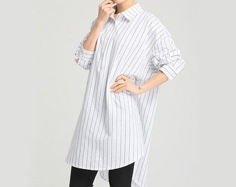 White Stripe Shirt Loose Blouse Cotton Blouse Long Blouse Free Style Blouse B10#