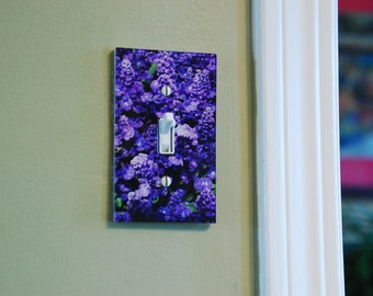 Purple Light Switch Cover, Lavender Blue Switch Plate, Art Lighting, Violet Home Floral Accents, Salvia Farinacea,